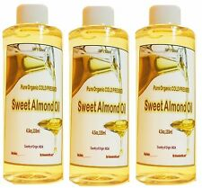 VIRGIN  ORGANIC SWEET ALMOND OIL CARRIER COLD PRESSED 100% PURE 4.5fl oz FREE SH