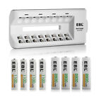 EBL 8 Slot Battery Charger + 4x AA Batteries + 4x AAA Rechargeable Batteries