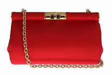 NWT $1100 DOLCE & GABBANA Bag Red Silk Gold Metal MISS EVA Purse Hand Clutch