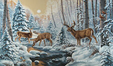 WALL JACQUARD WOVEN TAPESTRY Deer in Winter Forest WILD LIFE ANIMAL LANDSCAPE