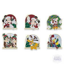 Disney Parks Santa Mickey Mouse and Friends Holiday Mini Pin Set