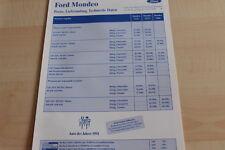 130646) Ford Mondeo - Preise & t. Daten & Ausstattungen - Prospekt 02/1994
