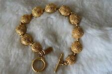 Victoria & Albert Museum Goldtone Textured Disc Links Toggle Clasp Bracelet