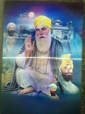 3D PHOTO PICTURE POSTER SIKH LORD GURU NANAK & ARJUN DEV 2 IMAGES GREAT GIFT Blu