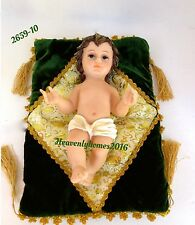 "10"" Statue of Baby Jesus Christ On Green Cloth Niño Dios 2659-10"