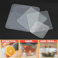 Stretch And Fresh Food Seen Tv Wraps Pack Reusable Kitchen Set 4 Silicon Cover