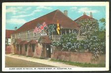Oldest House in U.S. St Francis St St Augustine Florida White Border Postcard 10