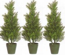 3 CEDAR IN OUTDOOR 2' TOPIARY TREE PLANT ARTIFICIAL BUSH CYPRESS POOL PATIO