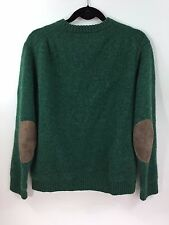 J CREW Wallace & Barnes Shetland Wool Sweater Suede Patch Green XL JFK Classic