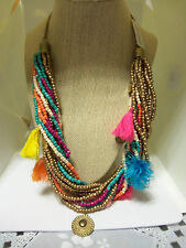 "24"" Adj Colorful Beaded & Tassle Twist Fashion Necklace"