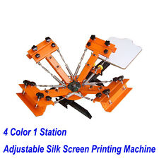 4 Color 1 Station Silk Screen Press Adjustable Screen Printing Machine DIY TShit