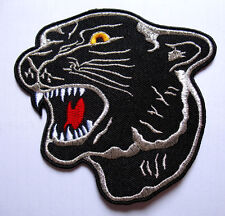 HUGE BIG BLACK TIGER PANTHER HEAD Embroidered Iron on Patch Free Postage