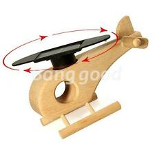 Solar Powered Air Plane Wooden helicopter Rotating Sun Model Kit Toy Kids Gifts