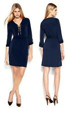 Michael Kors Luxus Kleid/Jerseykleid/Schnürkleid mit Kette Blau/Navy Gr.38/M Neu