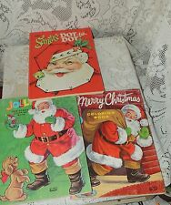 3 Coloring Book Vintage-1950-60's Unused..LOWE & WHITMAN SANTA COLOR BOOKS