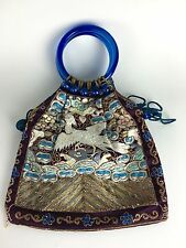 Chinese Republic Embroidered Silk Hand Bag - Peking Glass Handles/Beads, Tassels