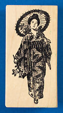 Rare Japanese Woman in Kimono / Geisha Rubber Stamp by 100 Proof Press - Parasol