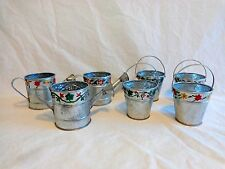 "Aluminum Votive Candle Holders Set of 7 Mini 2.5"" Watering Can Planter Pail"