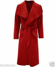 Ladies Belted Long Sleeve Italian Wool Cape Trench Waterfall Drape Coat Top
