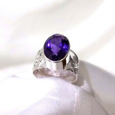 925 STERLING  SILVER WIDE CUTOUT PATTERN BAND & AMETHYST  GEMSTONE RING SIZE 10