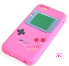 For iPhone 5C - SOFT SILICONE RUBBER SKIN CASE COVER HOT PINK GBA GAMEBOY PLAYER