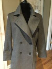 Womens TSE Cashmere Made In Italy Charcoal Gray Pea coat silk lined SzM NWOT