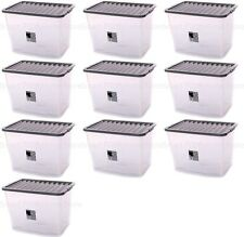 10 x 80L CONTAINER PLASTIC STORAGE BOX LARGE 80LTR LITRE BOXES CLEAR WITH LIDS