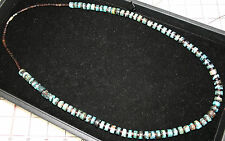 """VINTAGE OLD PAWN LONG BLUE SPIDERWEB HEISHI TURQUOISE NECKLACE 31.25"""""""