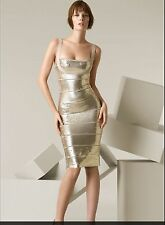 Herve Leger Antique Gold Metallic Sequin Dress Medium or Small (size 6)