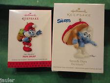 Hallmark Ornament The SMURFS Smurfy Days & Papa Smurf lot of 2 NEW  2012 2013
