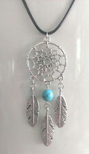 NATIVE AMERICAN SILVER TONE DREAMCATCHER NECKLACE CHARM PENDANT TURQUOISE BEAD