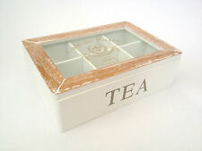 French Tea Bag Box Storage Chest Six Compartments Wooden Shabby Vintage Style