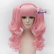 30CM Pink Curly Short Hair Lolita Women Anime Cosplay Wig + 2 Long Ponytails