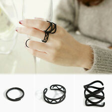 Best 3Pcs/Set Fashion Punk Black Stack Plain Above Knuckle Open Ring Midi Rings
