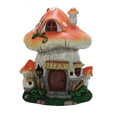 Solar MUSHROOM HOUSE 11-inch Fairy Garden Lights Up Miniature Resin NEW