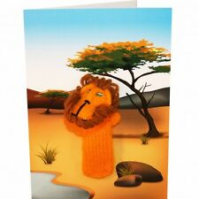 Lion Hand Knitted Puppet Greeting card