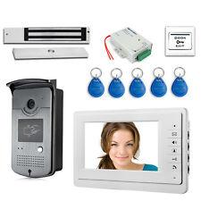 """7"""" LCD Video Door Phone RFID Doorbell Kit 180kg Electric Magnetic Lock + Power"""