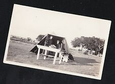 Antique Photograph People in Tent With Table In Front Cheyenne Wyoming 1927