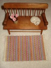 "Dollhouse - Bright Multi Color Tiny Stripes Rag Rug look with fringe 3 "" by 5 """