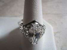 NEW WITH TAGS SILVER PLATED MARQUIS CUT CUBIC ZIRCONIA RING SIZE 6