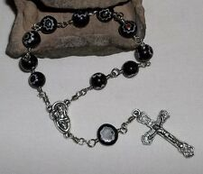 Black millefiori pocket rosary, Handmade, 8mm wire wrapped millefiori rosary