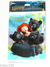 NEW    DISNEY  ~~BRAVE~~8- PAPER INVITATIONS W/ ENVELOPES , PARTY SUPPLIES
