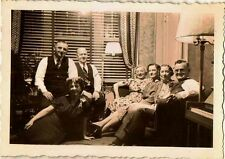 Vintage Antique Photograph People Sitting in Retro Parlor Living Room
