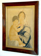 1800s Antique PETIT POINT Needle Work MADONNA CHILD Embroidered Tapestry Sampler