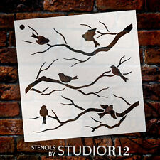 Birds & Branches Pattern Stencil  - Select Size - STCL1021 - by StudioR12