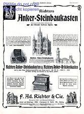 Steiner Steinbaukasten XL Reklame 1908 Baukasten Anker Spielzeug Konstruktion