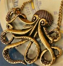Women Vintage Bronze Octopus Sea Animal Sweater Chain Pendant Necklace Findings