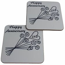 25th Wedding Anniversary (Silver) Pair of Coasters Flower