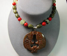 Large Carved Double Fish Stone Pendant Rutilated Tourmaline & Jade Necklace