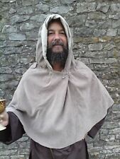 Medieval style Hood, Cape Mantle, light brown, beige, partly lined. LARP